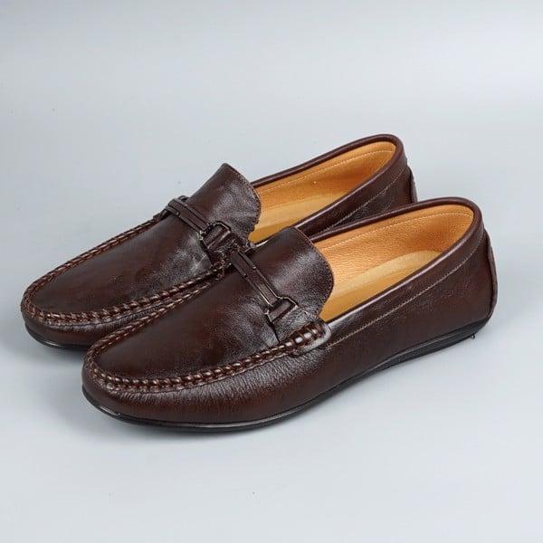 Giày lười nam da bò khóa sắt khâu đế - Nâu