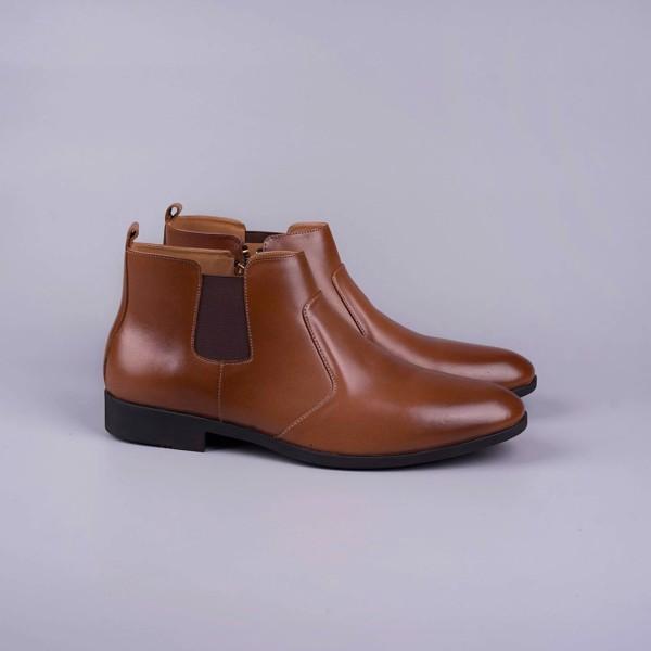 Giày Boot nam khóa kéo da bò thật - Nâu