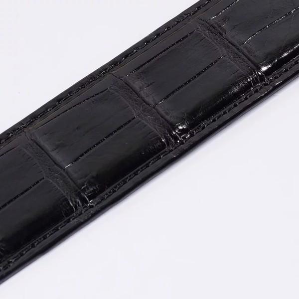 Dây lưng da cá sấu da bụng liền hàng không nốidây đen mặt ánh bạc| Hàng cao cấp