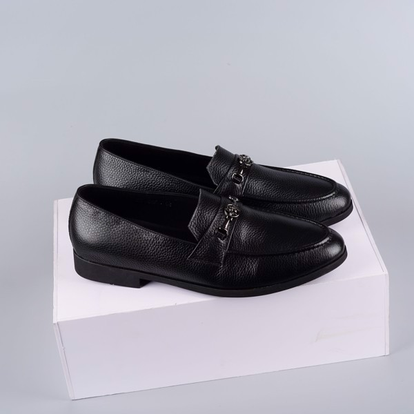Giày lười da bò có khóa dáng công sở sang trọng - Màu đen
