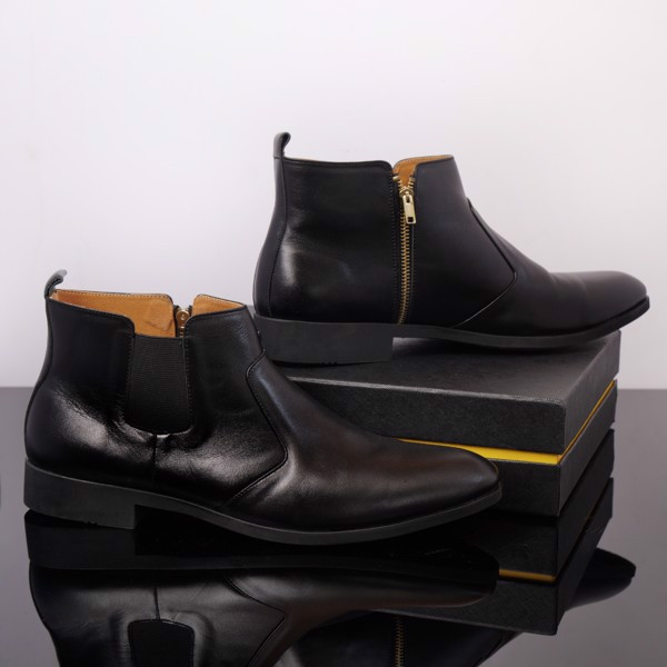 Giày Boot nam màu đen da thật có khóa kéo