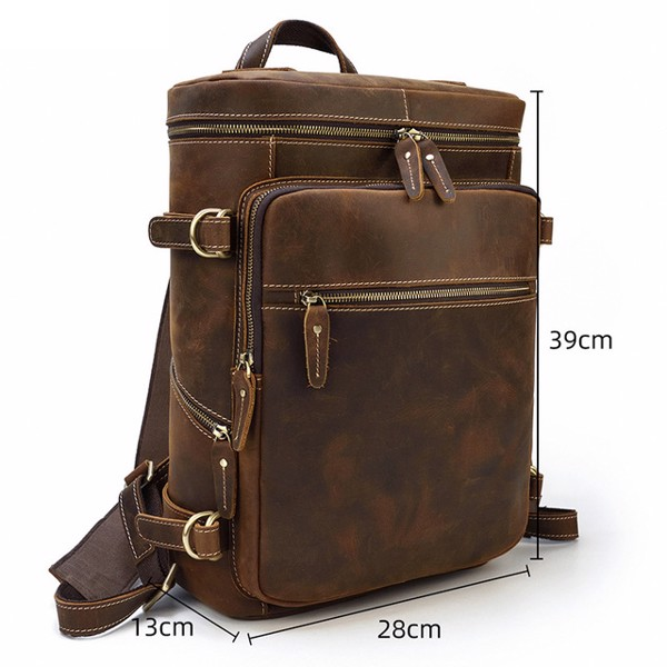 Balo nam du lịch đựng laptop 15inch da bò sáp lót da sau - 841143