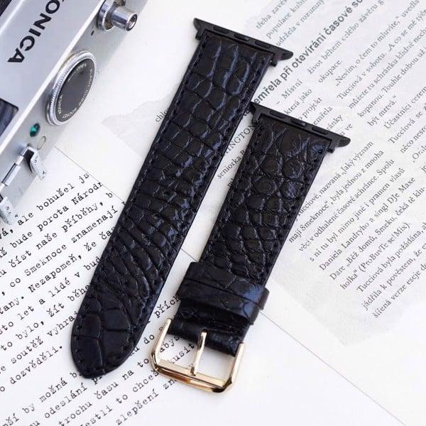 Dây đồng hồ da cá sấu xịn dành cho Apple Watch - Màu đen