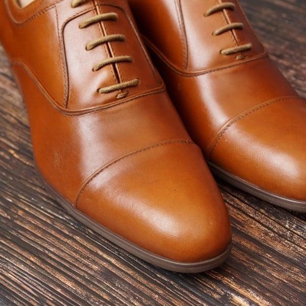 Giày da bò cao cấp mũi nhọn - Nâu vàng 1706