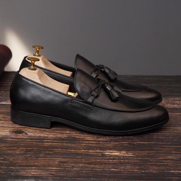 Giày lười da nam cao cấp công sở - Đen 555-7