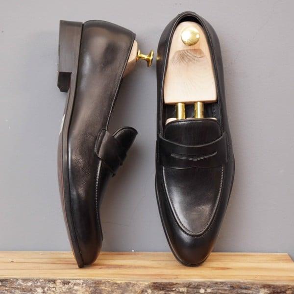 Giày lười da nam cao cấp - Đen 123-5