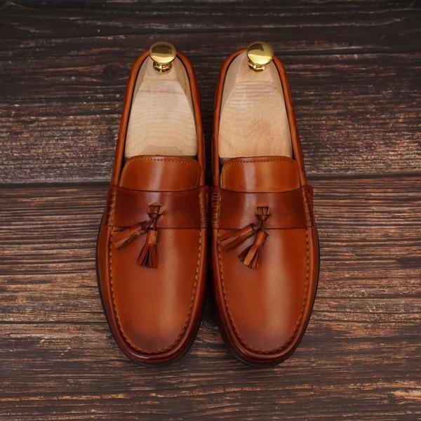 Giày lười da công sở Nâu phun - 1018