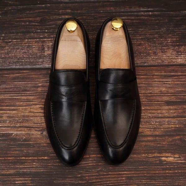 Giày lười da công sở da bò Đen - VA05