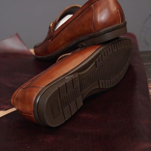 Giày lười da công sở họa tiết khóa - Nâu 137-2