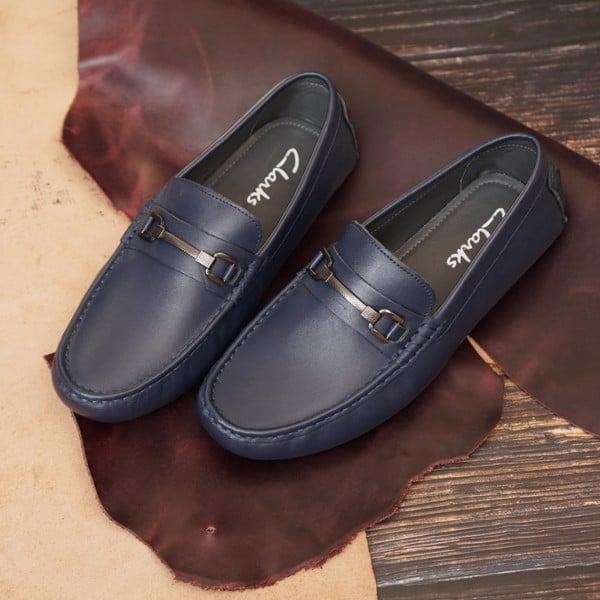 Giày da nam lười phụ kiện khóa - Navy 449900