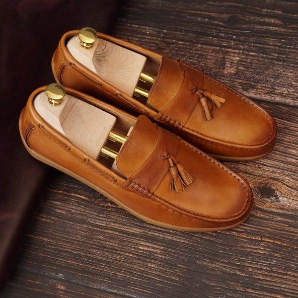 Giày lười da công sở cao cấp - Nâu vàng 1018