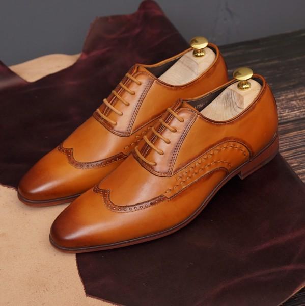 Giày da nam buộc dây công sở - Nâu Vàng 1706-1