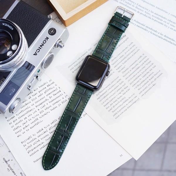 Dây da cá sấu đồng hồ Apple Watch màu xanh rêu đẹp sang trọng