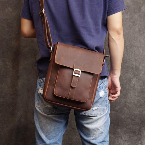 Túi đeo chéo da bò sáp dáng đứng - 165020