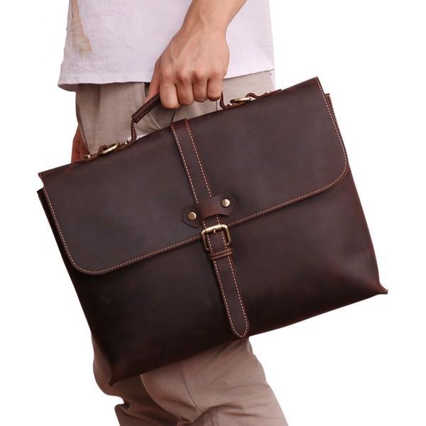 Túi xách nam Messenger da bò sáp mỏng retro - 1012967