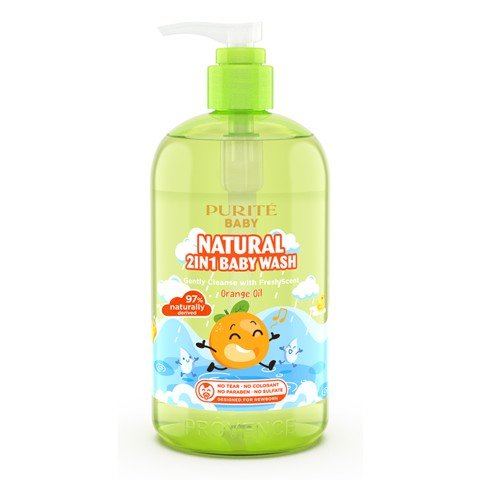 Sữa Tắm Gội Purité Baby Tinh Dầu Cam 500ml | Natural 2in1 Baby Wash Orange Oil 500ml