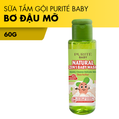 [Gift] Sữa Tắm Gội Purité Baby Bơ Đậu Mỡ (Mini Size) Natural 2in1 60g | Natural 2in1 Baby Wash Shea Butter (Mini size)