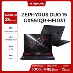 "LAPTOP ASUS ROG ZEPHYRUS DUO 15 SE GX551QR-HF103T RYZEN 9 5900HX | GEFORCE RTX 3080 16GB | 32GB RAM | 2TB SSD | 15.6"" IPS FHD 300HZ PERKEY 