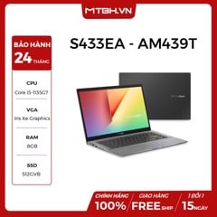 LAPTOP ASUS VIVOBOOK S433EA - AM439T i5-1135G7 | 8GB RAM | 512GB SSD | Intel Iris Xe Graphics | 14'' FHD | Win 10