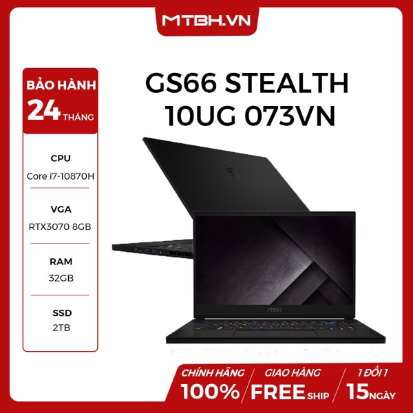 LAPTOP GAMING MSI GS66 STEALTH 10UG 073VN CORE I7 10870H | RTX 3070 8GB | 32GB RAM | 2TB SSD | 15.6″ IPS 300HZ PERKEY RGB WIN 10