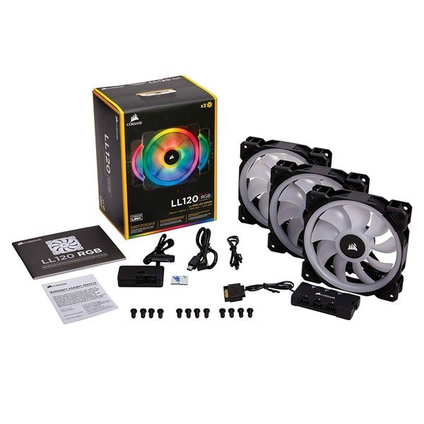 FAN CASE CORSAIR LL120 RGB (3 FAN + HUB)