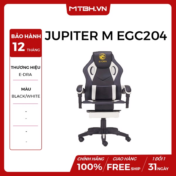 GHẾ E-DRA JUPITER M EGC204 GAMING BLACK WHITE
