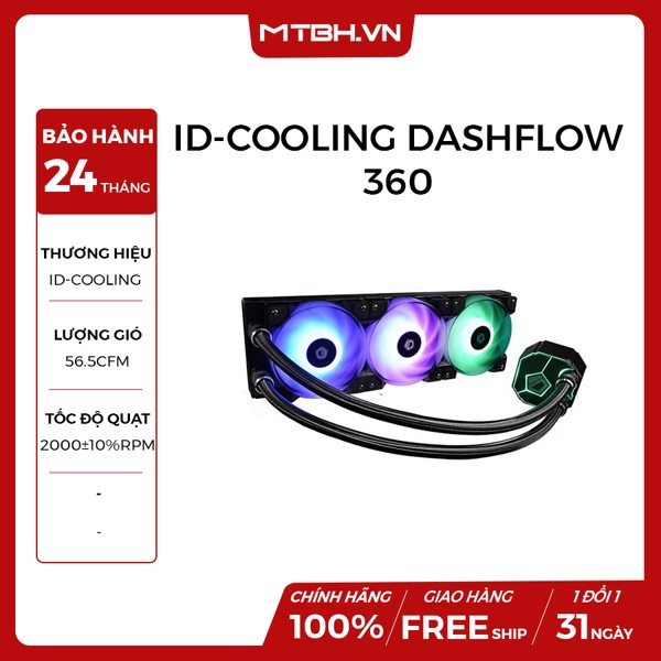 TẢN NHIỆT NƯỚC ID-COOLING DASHFLOW 360 AIO ( Led RGB, Premium Design Water Cooler, Super Performance, 360mm Radiator, DF Fan, Intel&AMD )