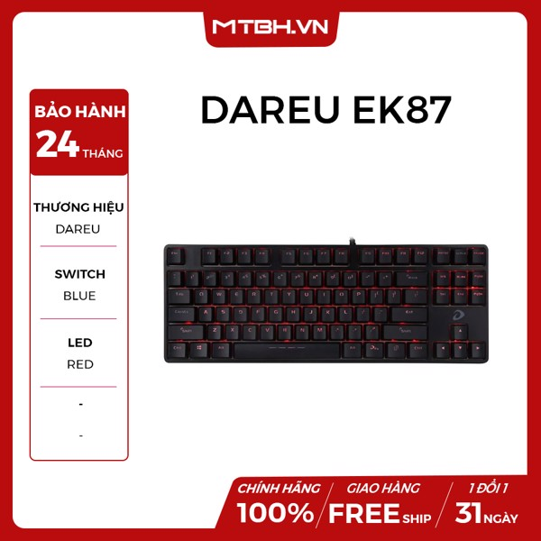 BÀN PHÍM CƠ DAREU EK87 BLACK BLUE SWITCH NEW BH 24TH