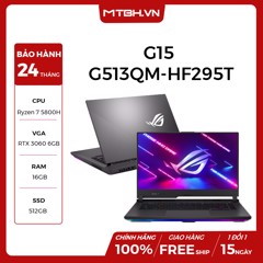 LAPTOP ASUS ROG STRIX G15 G513QM-HF295T AMD R7 5800H | RTX 3060 6GB | 16GB RAM | 512GB SSD | 15.6″ 300HZ FHD IPS PERKEY WIN 10