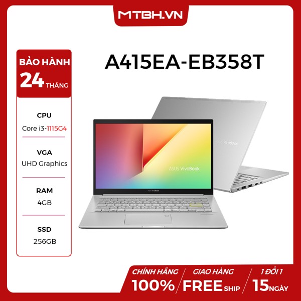 LAPTOP ASUS VIVOBOOK A415EA-EB358T i3-1115G4 | 4GB RAM | 256GB SSD | 14''FHD | WIN 10
