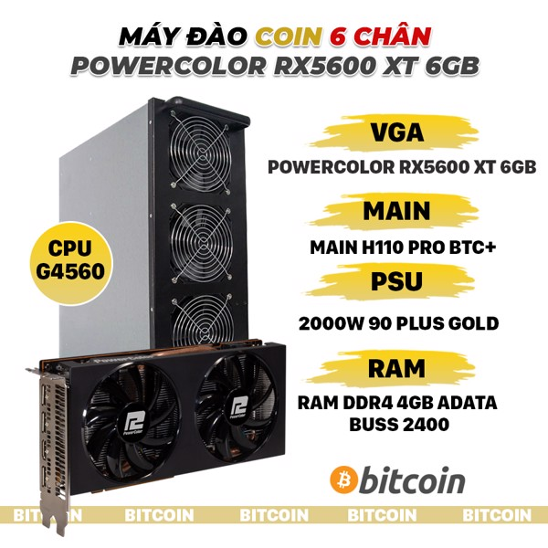 DÀN MÁY ĐÀO COIN 6 VGA POWER COLOR RX5600 XT 6GB