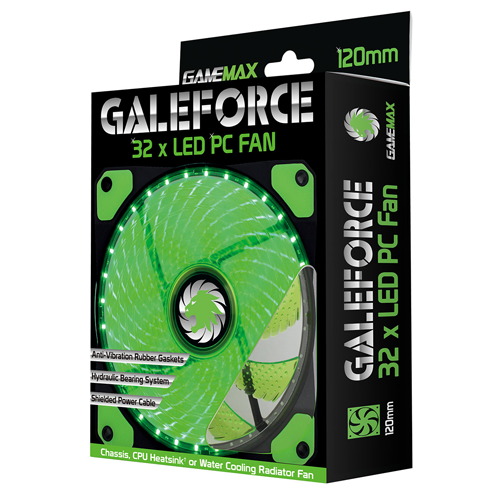 FAN CASE GAMEMAX GALEFORCE GMX-GF12G 32 GREEN LED