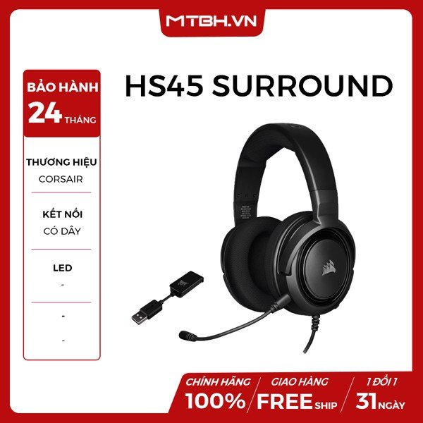 TAI NGHE CORSAIR HS45 SURROUND CARBON