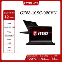 "LAPTOP GAMING MSI GF63 THIN 10SC - 020VN INTEL CORE I7-10750H | GTX1650 4GB | 8GB RAM | 512GB SSD |15.6"" IPS 144HZ 