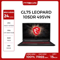 "LAPTOP GAMING MSI GL75 LEOPARD 10SDR 495VN GEFORCE GTX 1660TI 6GB INTEL CORE I7 10750H 16GB 512GB 17.3"" FHD 144HZ IPS BACKLIGHT KEYBOARD WIN 10"