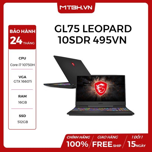"LAPTOP GAMING MSI GL75 LEOPARD 10SDR 495VN CORE I7 10750H | GTX 1660TI 6GB | 16GB RAM | 512GB SSD | 17.3"" FHD 144HZ IPS 