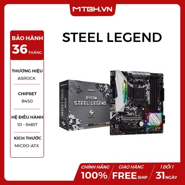 MAIN ASROCK B450M STEEL LEGEND (AMD)