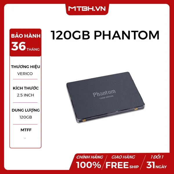 SSD VERICO 120GB PHANTOM SATA 3 BLACK CÒN BH