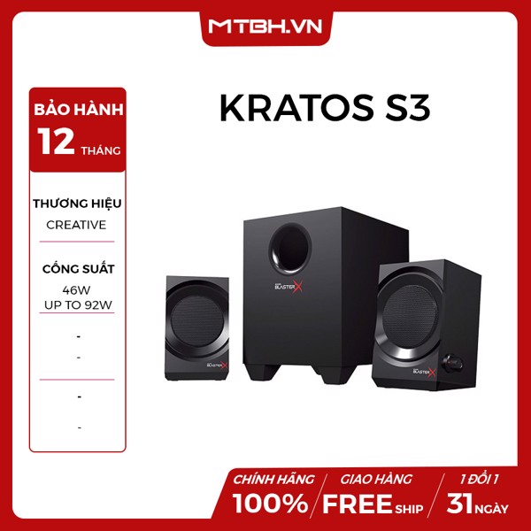 LOA CREATIVE KRATOS S3 BLASTERX PRO-GAMING BLACK