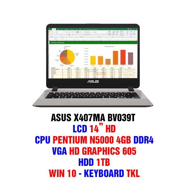 LAPTOP ASUS X407MA BV039T /N5000/4GB/1TB/14.0HD/FP/Win10