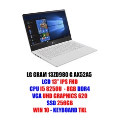 LAPTOP LG GRAM 2018 13'' 13ZD980 G AX52A5 Core i5-8250U | 8GB DDR4 | 256GB SSD| VGA Intel HD 620 | 13.0 FHD | Win10