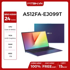 LAPTOP ASUS VIVOBOOK A512FA-EJ099T (Peacock Blue) | i3-8145U | 4GB DDR4 | 1TB HDD | Intel UHD Graphics 620 | 15.6