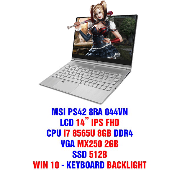 LAPTOP MSI PS42 8RA 044VN GEFORCE MX250 2GB INTEL CORE I7 8565U 8GB 512GB 14″ IPS BACKLIGHT KEYBOARD THIN AND LIGHT (Model 2019)