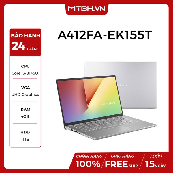 LAPTOP ASUS VIVOBOOK A412FA-EK155T | i3-8145U | 4GB DDR4 | 1TB HDD | Intel UHD Graphics 620 | 14'' FHD TN 200nits Anti-Glare | Win10 | 1.5Kg | NEW BH 24T