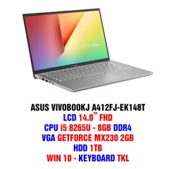 ASUS VIVOBOOKJ A412FJ-EK148T Core i5-8265U Ram 8GB HDD 1TB GeForce MX230 2GB 14.0 inch Full HD Win10