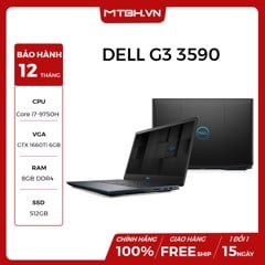 LAPTOP DELL GAMING G3 INSPIRON 3590-70191515 | i7-9750H | 8GB RAM | SSD 512GB | VGA Nvidia GeForce GTX 1660Ti 6GB | 15.6'' FHD | Win10