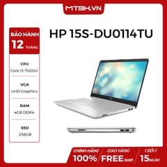 LAPTOP HP 15S-DU0114TU, Core i3-7020U(2.30 GHz,3MB),4GB RAM DDR4,256GB SSD,Intel HD Graphics,15.6''HD,Wlan ac+BT,3cell,Win 10 Home 64,Silver
