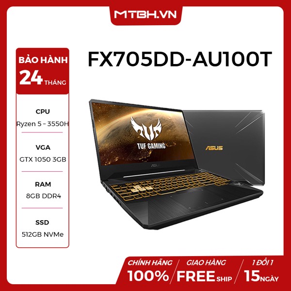 LAPTOP ASUS GAMING TUF FX705DD-AU100T GEFORCE GTX 1050 3GB RYZEN 5-3550H 8GB 512GB 17.3″ FHD IPS WIN 10 GOLD STEEL RGB