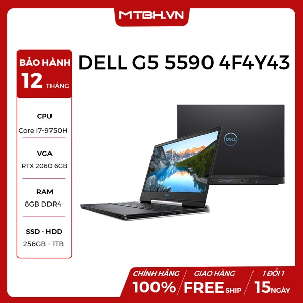 LAPTOP DELL GAMING G5 INSPIRON 5590 4F4Y43 GEFORCE GTX 1660Ti 6GB INTEL CORE I7 9750H 256GB 1TB HDD 8GB 15.6 FHD IPS 144HZ WIN 10