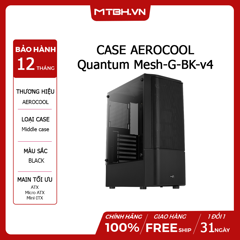 CASE AEROCOOL Quantum Mesh-G-BK-v4 / USB3.0 x 1-Glass Edition -Black